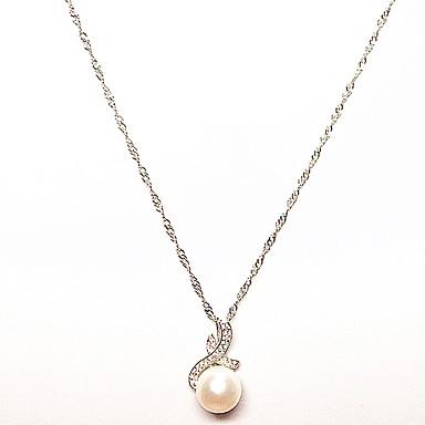Dámské Perla Náhrdelníky s přívěšky - Perly, Stříbro Jedinečný design, Visací Bílá Náhrdelníky Pro Vánoční dárky, Narozeniny, Dar