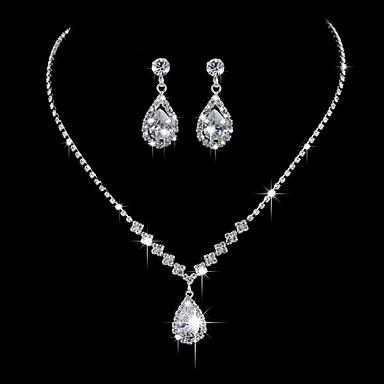 ieftine Coliere-Pentru femei Coliere cu Pandativ De Bază Zirconiu Ștras Argilă Argintiu Coliere Bijuterii Pentru Nuntă Petrecere Aniversare Afaceri Logodnă Zilnic / aleasă a inimii