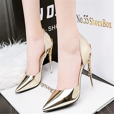 ราคาถูก รองเท้าส้นสูงผู้หญิง-สำหรับผู้หญิง หนังสิทธิบัตร ฤดูใบไม้ผลิ / ฤดูร้อน รองเท้าคลับ รองเท้าส้นสูง วสำหรับเดิน ส้น Stiletto สีเทาเข้ม / เงิน / สีชมพู / งานแต่งงาน / พรรคและเย็น / แต่งตัว / 3-4 / พรรคและเย็น