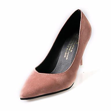 Damen Schuhe PU Sommer Komfort Sandalen Walking Stöckelabsatz Spitze Zehe Grau / Grün / Rosa