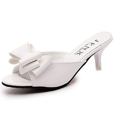Mulheres Sapatos Couro Ecológico Verão Conforto Sandálias Caminhada Salto Agulha Ponta Redonda Laço para Casual Branco Preto