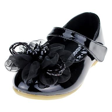 Para Meninas sapatos Courino Primavera Outono Sapatos para Daminhas de Honra Conforto Rasos Cristais Apliques Velcro para Casamento