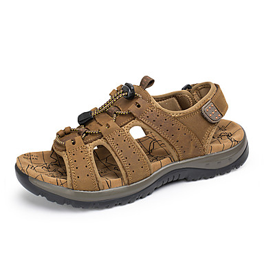 Men's Cowhide Spring / Summer Comfort Sandals Upstream Shoes Light Brown
