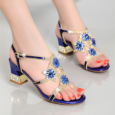 cheap Women's Shoes-Women's Sandals Chunky Heel Rhinestone  PU(Polyurethane) Summer Gold / Purple / Blue / Party & Evening / Party & Evening / EU40