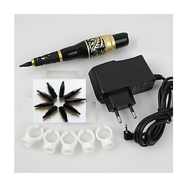1set permanente Make-up Augenbraue Tattoo Stift Maschine Nadel Spitze Stromversorgung Kit