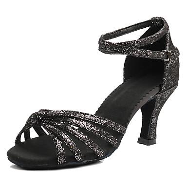 نسائي أحذية رقص حرير كعب مشبك كعب مخصص مخصص أحذية الرقص أسود وفضي / زهري / بني داكن / أداء