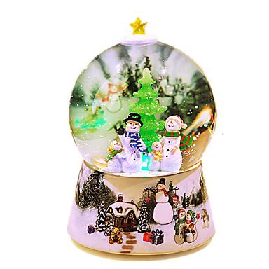 Caixa de música Globo de neve Cristal Resina Forma Cilindrica Iluminação Brilha no Escuro Rotativo Unisexo Dom
