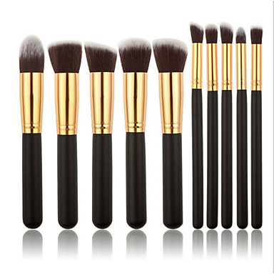 10pçs Pincéis de maquiagem Profissional Conjuntos de pincel / Pincel para Blush / Pincel para Sombra Pêlo Sintético Madeira