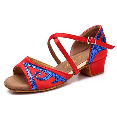 Sapatos de Dança Latina Cetim / Courino Sandália Presilha Salto Baixo Não Personalizável Sapatos de Dança Fúcsia / Vermelho / Azul