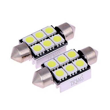 ziqiao 백색 39mm 5050 6 smd는 c5w에 의하여지도 된 자동 실내 돔 문 전구 경로 조명 램프를지도했다 (12v / 2pcs)