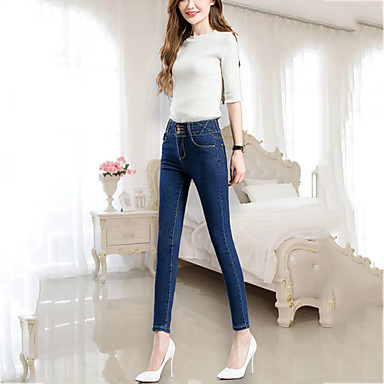 Women S High Rise Stretchy Jeans Pants Street Chic Slim Solid