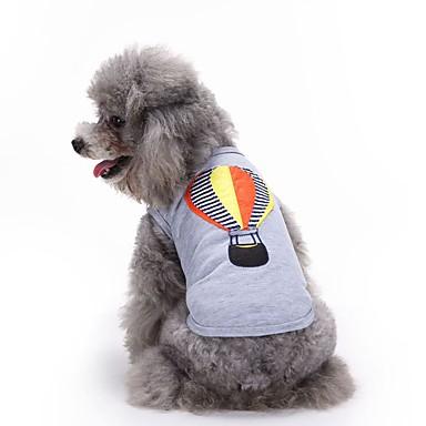 Gato Cachorro Camiseta Colete Roupas para Cães Bordado Cinzento Algodão Ocasiões Especiais Para animais de estimação Homens Mulheres Fofo