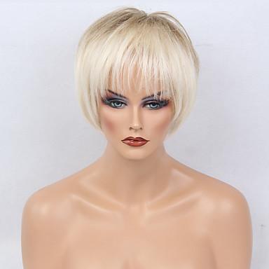 Perucas de cabelo capless do cabelo humano Cabelo Humano Liso Natural Straight Corte Bob Com Franjas Cabelo Ombre Curto Fabrico à Máquina