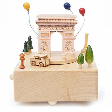Caixa de música Quadrada Carrossel Arco do Triunfo Merry Go Round Fofinho Crianças Adulto Infantil Dom Madeira Unisexo
