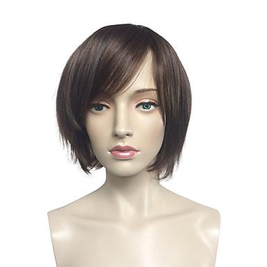 Perucas sintéticas Liso Kinky Liso Preta Mulheres Sem Touca Peruca Natural Curto Cabelo Sintético