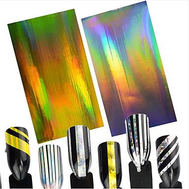 2pcs/set      Laser Gold+Laser Silver Fashion Glitter & Poudre / Etiquetas de unhas 3D / Fita de decapagem Diário