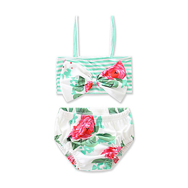 baratos Roupas de Banho para Meninas-Bébé Para Meninas Floral Laço Listras Listrado Floral Estampado Algodão Roupa de Banho Verde