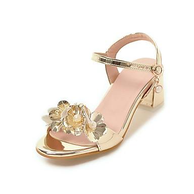 Mulheres Couro Ecológico Verão / Outono Conforto / Sapatos para Daminhas de Honra / Salto minúsculos para Adolescentes Sandálias Caminhada Salto Robusto Dedo Aberto Pérolas Sintéticas / Presilha