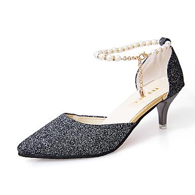 Mulheres Sapatos Couro Ecológico Verão Conforto Sandálias Caminhada Salto Agulha Dedo Apontado Presilha Dourado / Prata / Cinzento