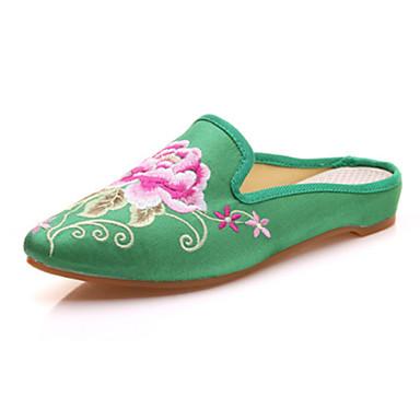 للمرأة أحذية مجهرية صيف / خريف مريح / حديث / ظهر مفتوح أوكسفورد المشي كعب مسطخ حذاء براس مدبب زهور أحمر / أخضر / زهري