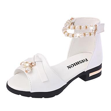 Mädchen Schuhe PU Sommer Komfort Schuhe für das Blumenmädchen Sandalen Imitationsperle Für Normal Kleid Party & Festivität Weiß Rosa