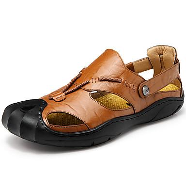 Homens sapatos Pele Couro Primavera Verão Conforto Sandálias Aventura Botão para Atlético Casual Ao ar livre Preto Marron Castanho Escuro