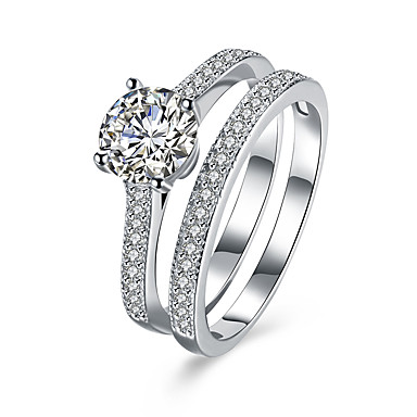 billige Motering-Dame Ring vikle ring Diamant Kubisk Zirkonium liten diamant Sølv Sølv Zirkonium Platin Belagt damer Grunnleggende Fest Bursdag Smykker simulert
