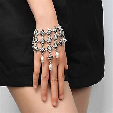Mulheres Imitação de Pérola Imitação de Pérola Pulseiras Strand - Confeccionada à Mão Fashion Forma Geométrica Dourado Prata Pulseiras