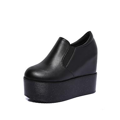 Damen Schuhe Kunstleder Frühling Sommer Herbst Creepers Sneakers Walking Plattform Elastisch für Normal Draussen Weiß Schwarz Rosa
