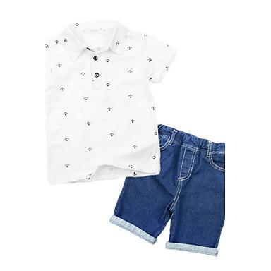 Para Meninos Conjunto Verão Raiom Manga Curta Desenho Branco Azul Marinha