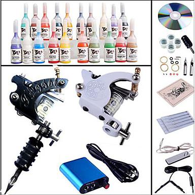 آلة الوشم المهنية الوشم كيت - 2 pcs آلات الوشم, متخصص تزويد القوة صغيرة الغطاء متضمن 2 X آلة تاتو من الفولاذ للتخطيط والتظليل