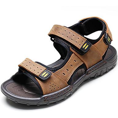 Homens sapatos Pele Primavera / Verão Conforto Sandálias Água Preto / Castanho Claro