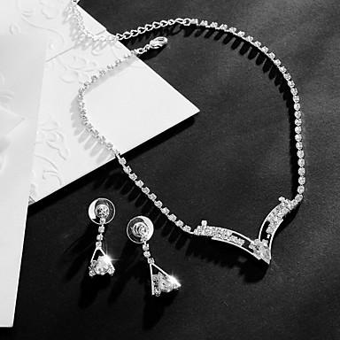 Mulheres Zircônia cúbica Conjunto de jóias 1 Colar 1 Par de Brincos - Pingente Fashion Caído Prata Conjunto de Jóias Para Casamento Festa