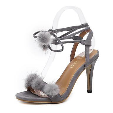 Mulheres Sapatos Courino Primavera Verão Conforto Sandálias Caminhada Salto Agulha Dedo Aberto Cadarço para Casual Social Preto Cinzento