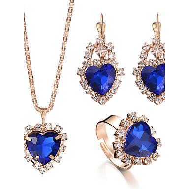 Mulheres Cristal Conjunto de jóias - Coração, Amor Luxo, Fashion, Elegante Incluir Anel / Colar / Brincos / Sets nupcial Jóias Vermelho / Verde / Azul Para Presentes de Natal / Casamento / Festa