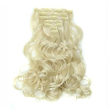 Hårstycke Vågigt Klassisk Syntetiskt hår HÅRFÖRLÄNGNING Klämma in Dagligen