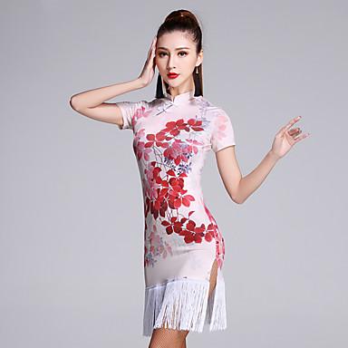 الرقص اللاتيني الفساتين نسائي أداء فسكوزي نموذج / طباعة كم قصير ارتفاع متوسط فستان