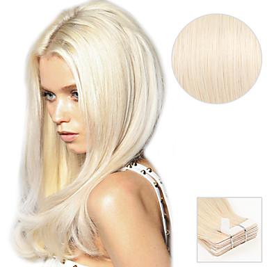 Adhesivo Extensiones de cabello humano Recto Extensiones Naturales Cabello humano