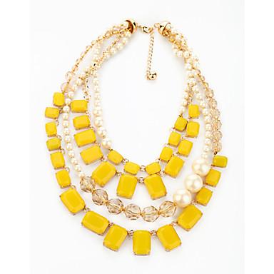 Mulheres Strands Necklace - Personalizada, Fashion Amarelo Colar Para Presentes de Natal, Festa, Obrigado