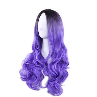 الاصطناعية الباروكات مموج شعر مستعار صناعي أسود شعر مستعار للمرأة طويل دون غطاء