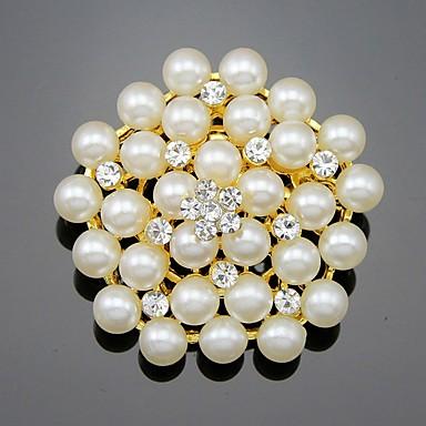 abordables Epingles & Broches-Femme Fille Broche Fleur Perle Cristal Broche Bijoux Dorée Blanc Pour Mariage Soirée Occasion spéciale Quotidien