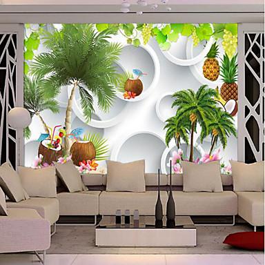 Mural Tela de pintura Revestimento de paredes - adesivo necessário Árvores / Folhas Art Deco
