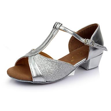 Mulheres Sapatos de Dança Latina Paetês Salto Salto Baixo Personalizável Sapatos de Dança Dourado / Prata / Interior