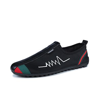 Homens sapatos Tecido Primavera Outono Conforto Mocassins e Slip-Ons Caminhada Combinação para Atlético Casual Ao ar livre Preto Vermelho