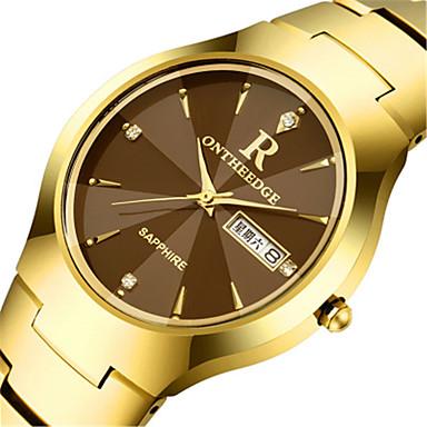 זול תכשיטים-בגדי ריקוד גברים שעון יד קווארץ לוח שנה סגסוגת להקה אנלוגי קסם אופנתי שחור / כסף / זהב - זהב שחור כסף