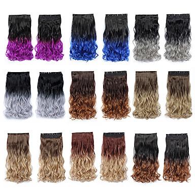 billige Syntetisk hairextension-Febay Syntetiske parykker Bølget Syntetisk hår Hår extension Klipp På Nyanse 1 pakke Fest syntetisk Fargenivåer Herre Daglig