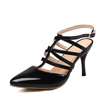 Mulheres Courino / Couro Ecológico Verão / Outono Conforto / Inovador / Sapatos clube Saltos Caminhada Salto Agulha Dedo Apontado Presilha Amarelo / Vermelho / Amêndoa / Sapatos formais / Social