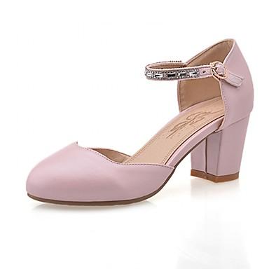 Mulheres Sapatos Sintético / Courino / Couro Ecológico Primavera / Verão Conforto / Inovador Saltos Caminhada Salto Robusto Ponta Redonda