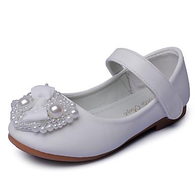 Para Meninas Sapatos Courino Primavera Rasos Laço / Pérolas Sintéticas / Velcro para Branco / Rosa claro / Festas & Noite