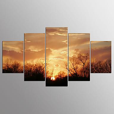 Pingoitetut kanvasprintit 5 paneeli Horizontal Painettu Wall Decor Kodinsisustus